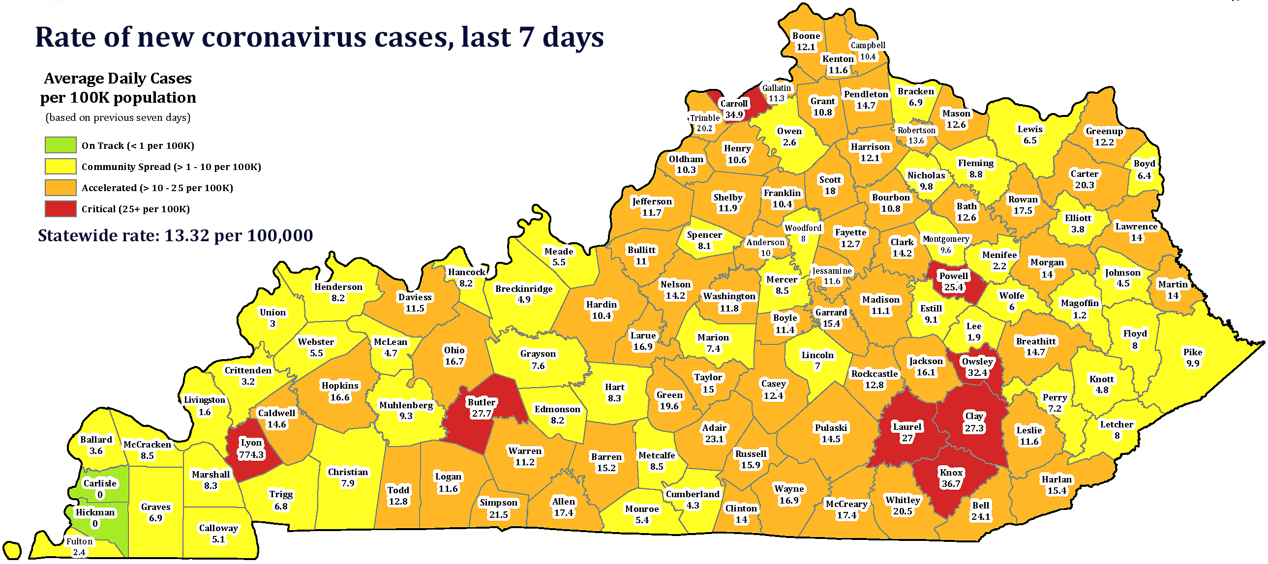State Dept. for Public Health map, relabeled by Ky. Health News