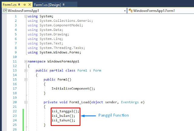 cara memanggil fungsi, cara memanggil function, function tanggal