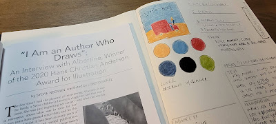 """Close up of the title of an article within Bookbird 2020 vol. 58 no. 3, entitled """"I am an author who draws: an interview with Albertine, Winner of the 2020 Hans Christian Andersen Award for Illustration"""" side by side with my handwritten analysis of Albertine's artwork in Little Bird by Germano Zullo. The notes include a thumbnail sketch of the cover, 6 circles of color showing the main color palette and detailed notes about the book."""