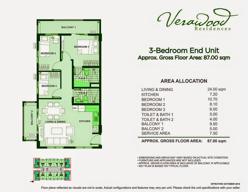 Verawood Residences 3-Bedroom 87 sqm unit plan
