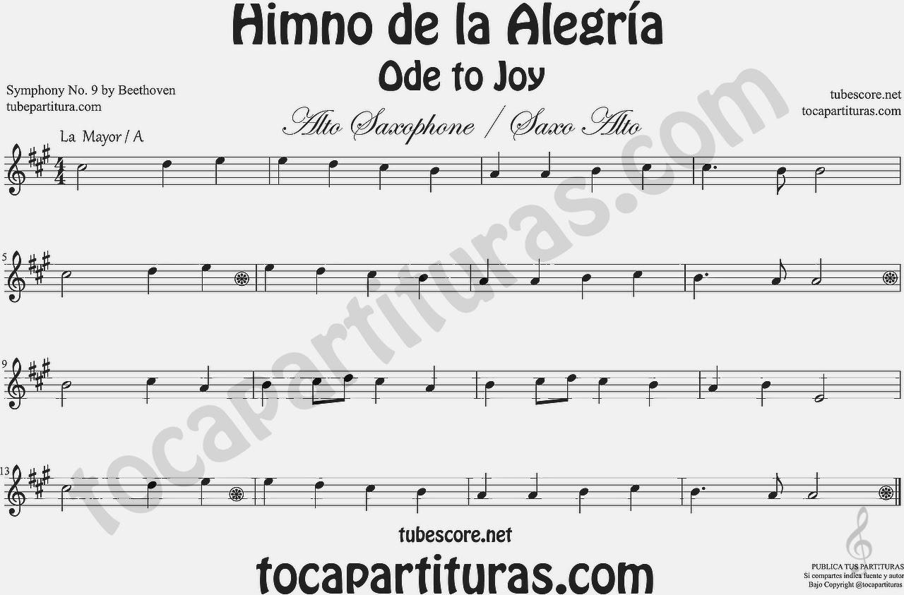 Diegosax El Himno De La Alegría Oda A La Alegría De Beethoven Partitura De La Novena Sinfonía Partitura Para Saxofón En Sol Mayor Partitura Para Flauta En Do Mayor Partitura Para Trompeta