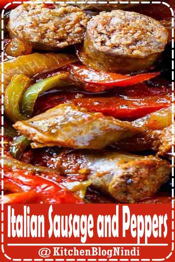 4.8★★★★★ Flavorful chunks of Italian sausage are combined with diced tomatoes, garlic, oregano, basil, lots of red and green bell pepper and onion for an easy weeknight meal. #ItalianSausage #Peppers
