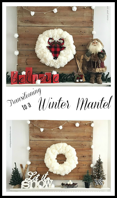 Vintage Paint and more... a Christmas mantel transitioned to a winter mantel using many of the same pieces including a diy yarn pom-pom wreath and garland and rustic winter snow decor