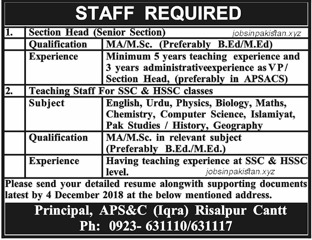 Advertisement for Army Public School and College Jobs 2018