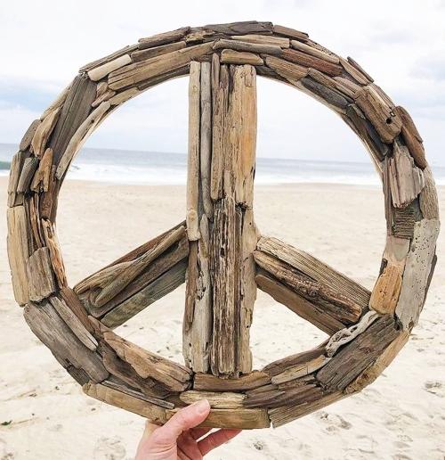 Sea Nature Art Driftwood Peace Sign Handmade