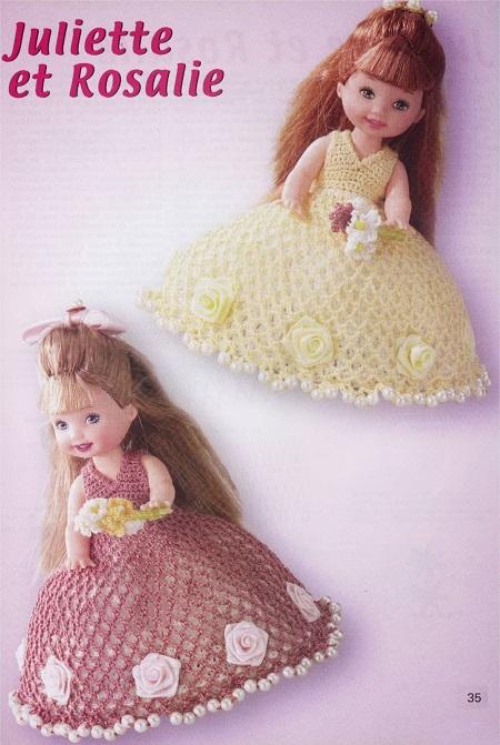 vestido de daminha de crochê para Barbie com gráficos 5