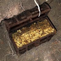 Toprak altında kazılarak bulunmuş gömülü bir altın sandığı