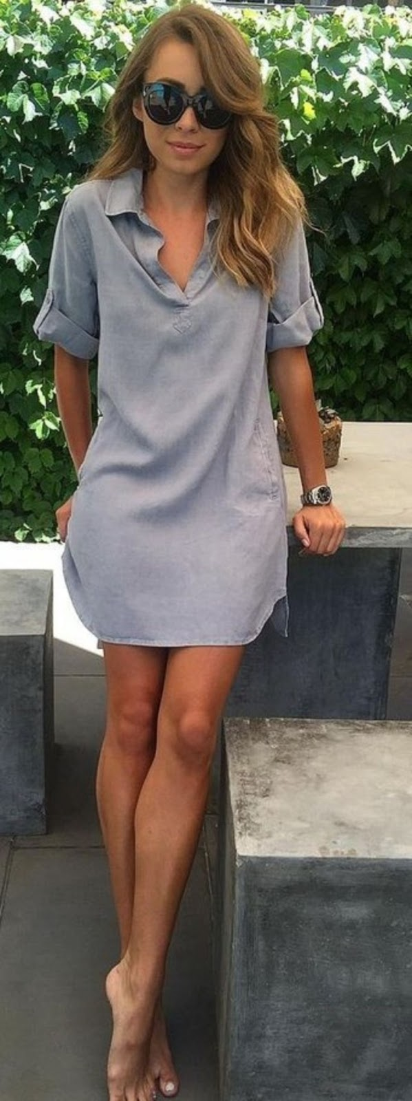 simple summer outfit / sunglasses and shirt dress