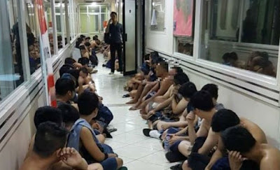 Some of the 141 men detained during a raid on a building housing a sauna and a gym in North Jakarta in May.