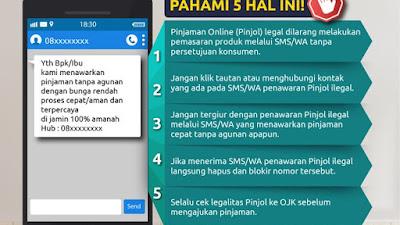 Penawaran Pinjol Melalui SMS/WA adalah Ilegal