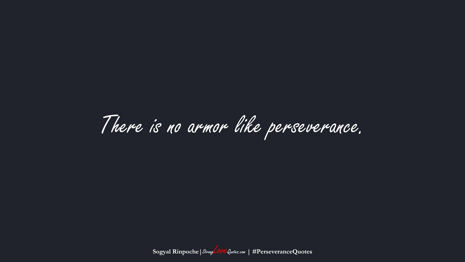 There is no armor like perseverance. (Sogyal Rinpoche);  #PerseveranceQuotes