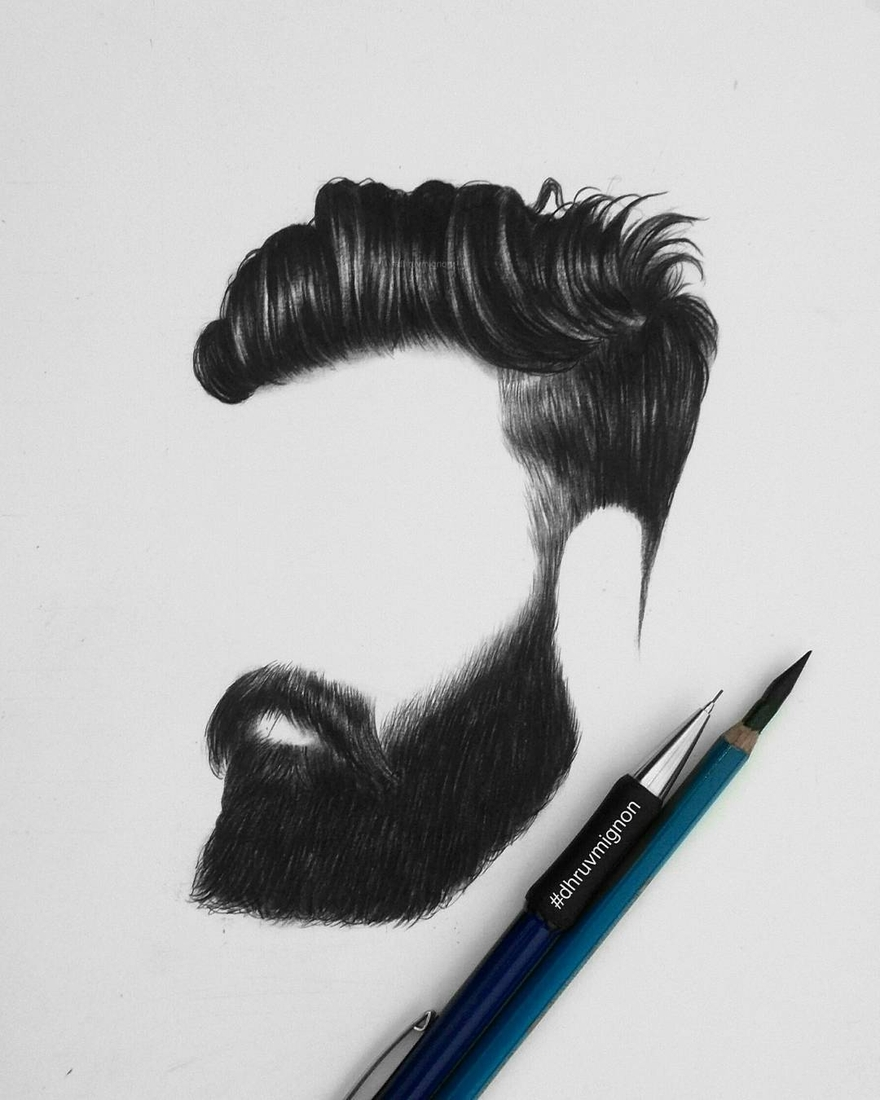 13-dhruvmignon-Minimalist-Realistic-Hair-Study-Drawings-www-designstack-co