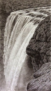 charcoal painting of a waterfall by Manju Panchal