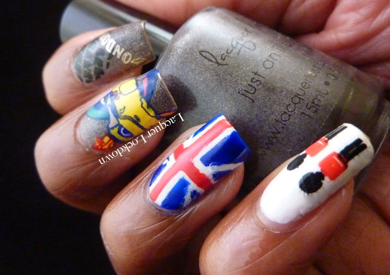Lacquer Lockdown - MoYou London, MoYou London Tourist 01, Tourist 01, MoYou London Roxy 10, Roxy 10, stamping, nail art, london theme, the beatles, union jack, nail vinyls, Lacquer Lust Just An Illusion, L'Oreal A la Meringue, Mundo de Unas stamping polish, yellow submarine, lodon, uk nail art, british themed nail art, diy nails, diy nail art, cute nail art ideas
