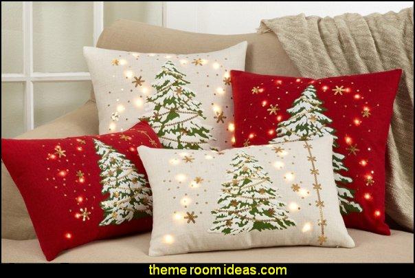 Christmas Tree Throw Pillow with LED Lights christmas decor