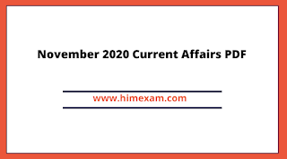November 2020 Current Affairs PDF