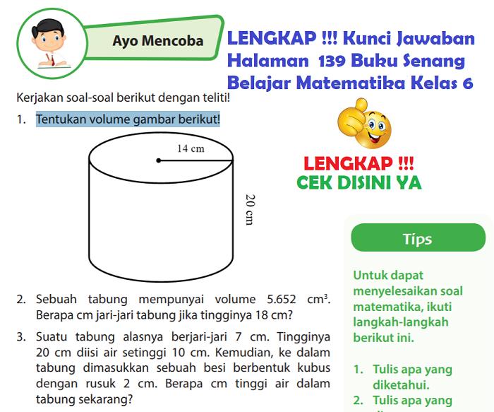Lengkap Kunci Jawaban Halaman 139 Buku Senang Belajar Matematika Kelas 6 Kunci Jawaban Lengkap Dan Terbaru Simplenews