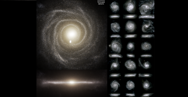 Images of the optical light emitted by the stars of 16 galaxies from the TNG50 simulation. Each galaxy is seen face-on or from the top (top sub panels), and edge-on or from the side (lower sub panels). Credit D. Nelson (MPA) and the IllustrisTNG team