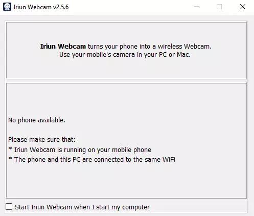 no phone available in iriun webcam