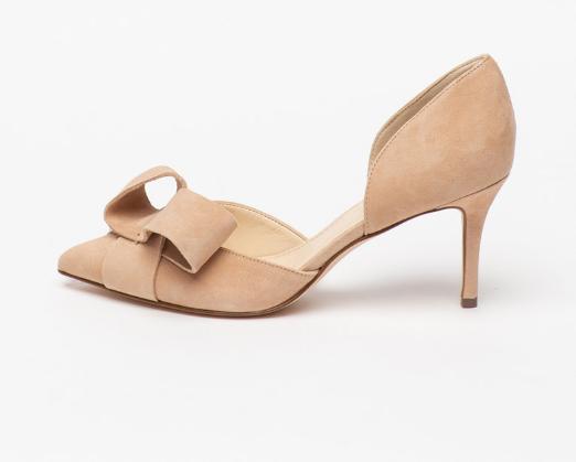 Pantofi din piele intoarsa roz cu varf ascutit si aplicatie cu funda Nine West