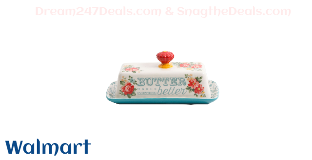 The Pioneer Woman Teal Vintage Floral Butter Dish