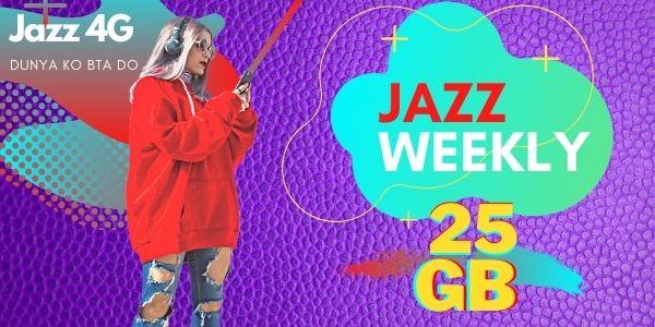 Jazz Weekly Internet Package 25GB code, Mega Plus offer