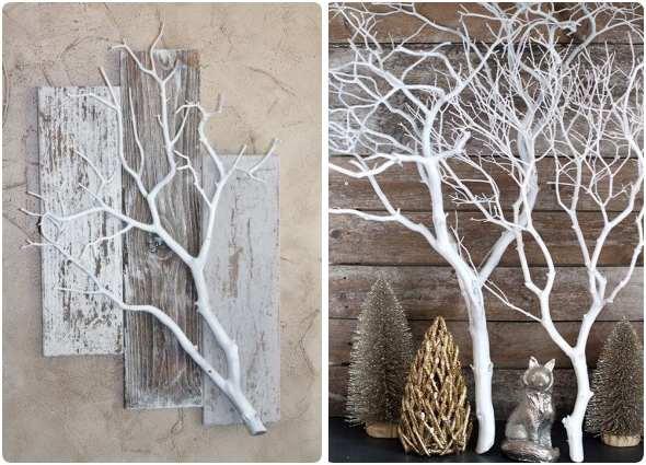 blanquear ramas-troncos, manualidades decoración