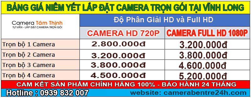 bảng báo giá lắp camera tại vĩnh long