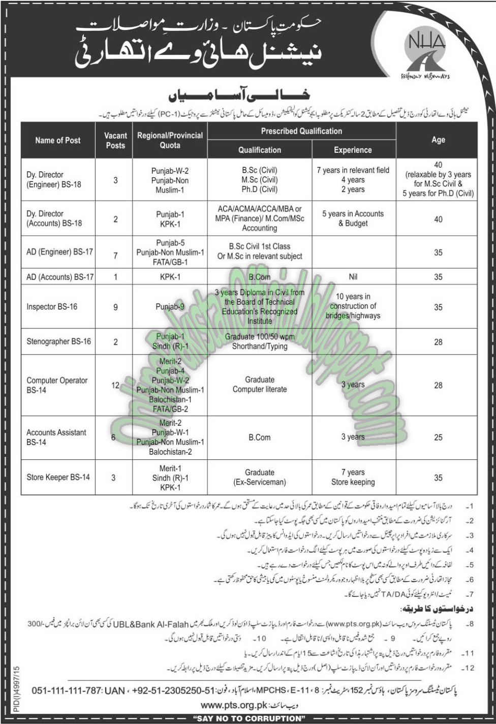 National Highway Authority NHA Latest Jobs in Pakistan