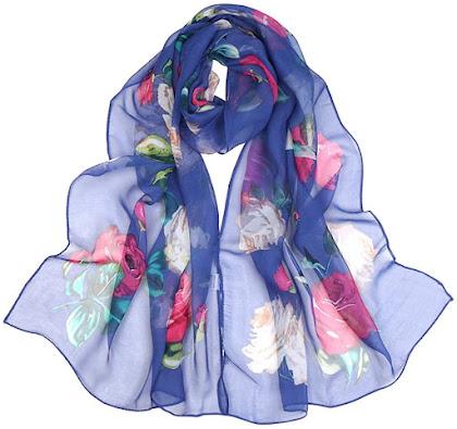 Floral Print Silk Chiffon Scarves Shawls