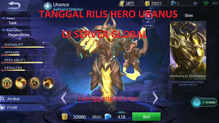 Tanggal Rilis Hero Uranus di Server Ori atau Global Mobile Legends