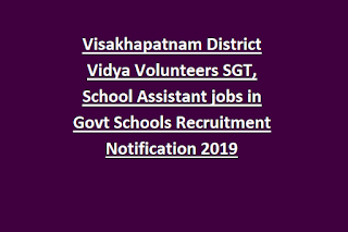 Visakhapatnam District Vidya Volunteers SGT, School Assistant jobs in Govt Schools Recruitment Notification 2019 Application Form