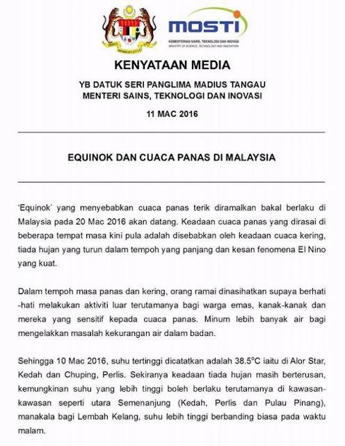 Equinok Dan Cuaca Panas Di Malaysia