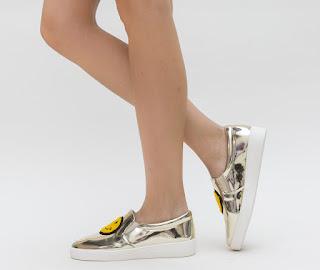 Pantofi Casual dama Aurii cu smiley face