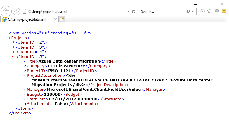 sharepoint online export list to xml