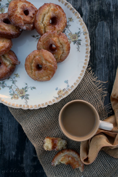 Old-Fashioned Sour Cream Doughnuts w/ Vanilla Icing