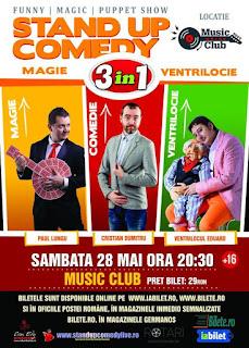 Stand Up Comedy, Magie si Ventrilocie sambata 28 mai Bucuresti