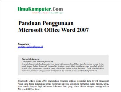 Ebook Panduan Microsoft Word 2007