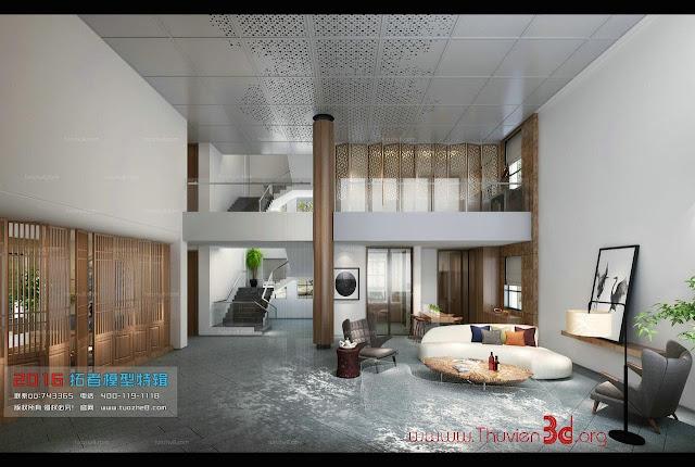 Thư viện 3D phòng khách phong cách hiện đại