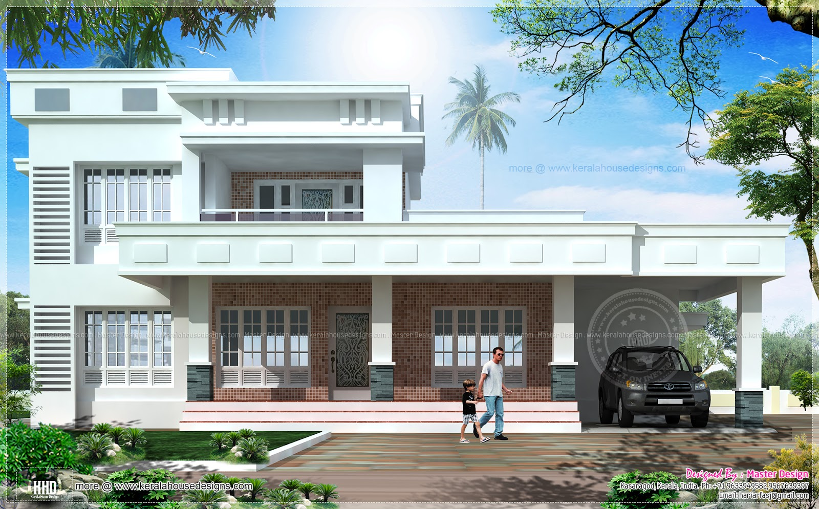 Kerala House Front Elevation Models : Box model east face vastu house design kerala home