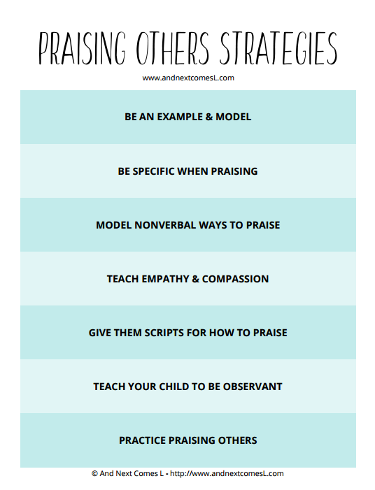 Free printable cheat sheet with tips for teaching kids how to praise others from And Next Comes L