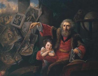 Schizzo ad olio per la pittura satirica di Hone The Pictorial Conjuror, 1775