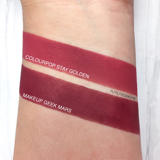 Colourpop VS Makeup geek : Stay Golden VS Mars, futilitiesmore, futilitiesandmore, futilities and more, makeup swatches