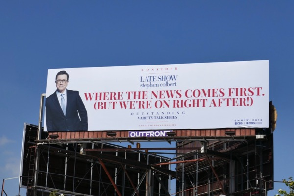 Late Show Stephen Colbert news comes first Emmy FYC billboard