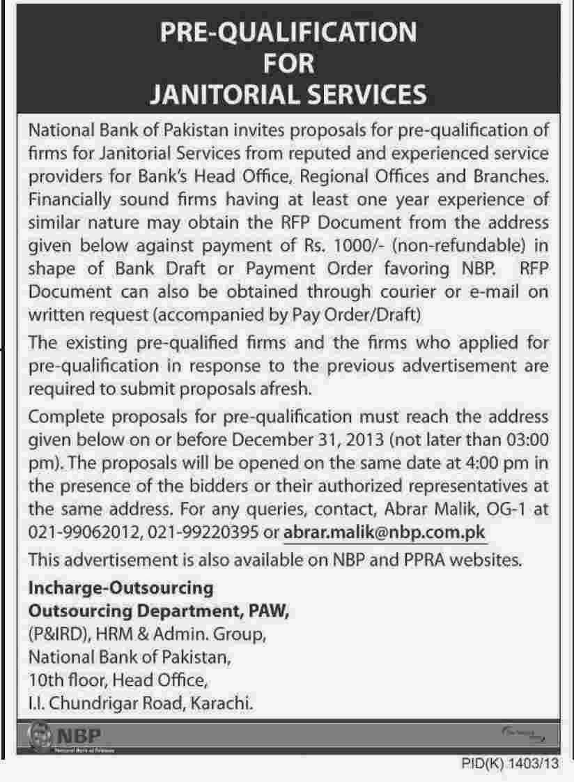 National bank of pakistan nbp karachi tender notice - National bank of pakistan head office ...
