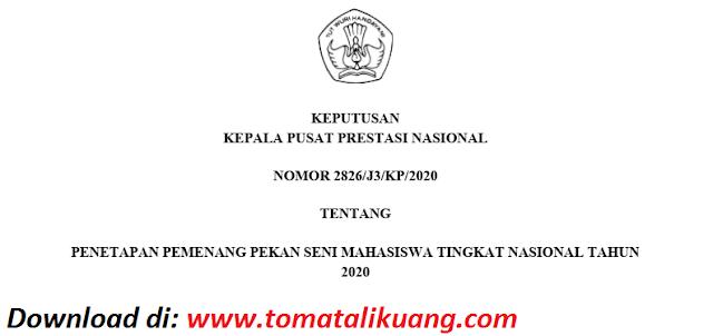 sk pemenang peksiminas xv tahun 2020 pdf tomatalikuang.com