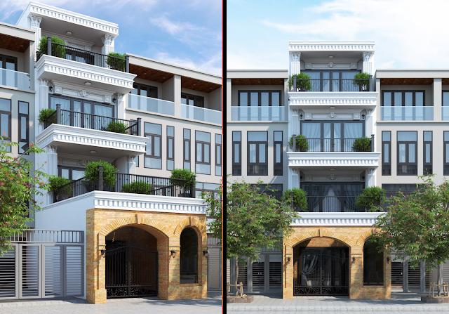 CHia sẽ model sketch up nhà phố kiểu cổ điển