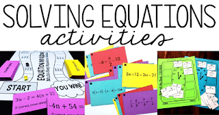 Are you looking for a fun solving equations activity? In this post are a bunch of solving equations activities that work great as centers, stations, review activities and independent work.