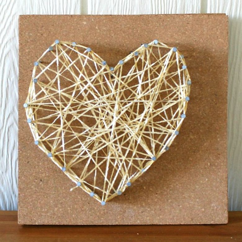 string heart art project
