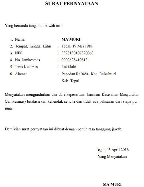 Surat Pengunduran diri BPJS